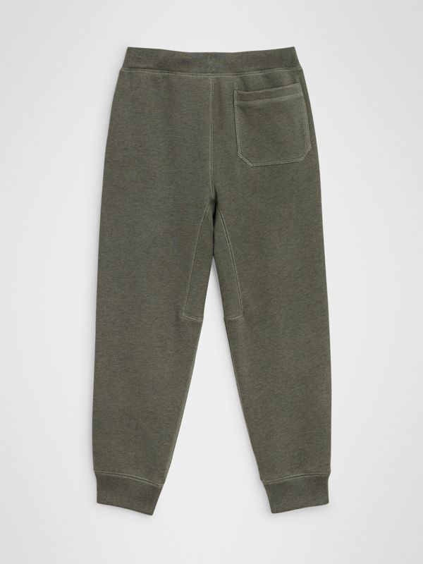 Cotton Jersey Trackpants in Olive Melange | Burberry Canada - cell image 3