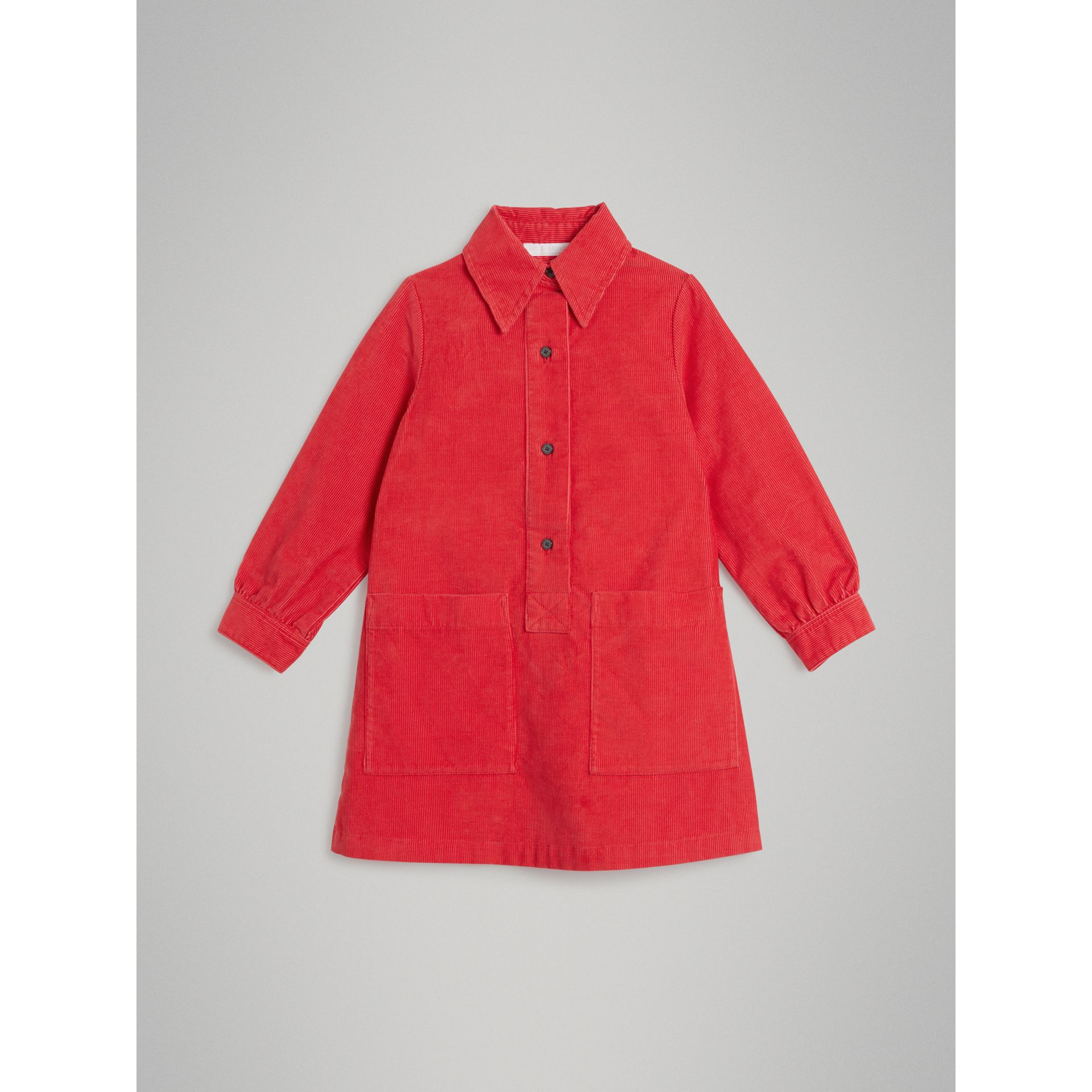 Corduroy Shirt Dress in Bright Orange Red - Girl | Burberry United Kingdom - gallery image 0
