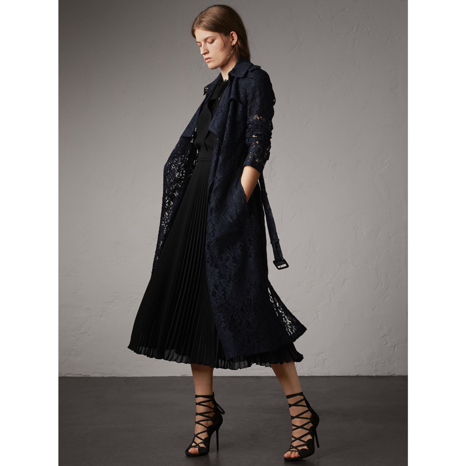 Macramé Lace Trench Coat in Navy - Women | Burberry - gallery image 1