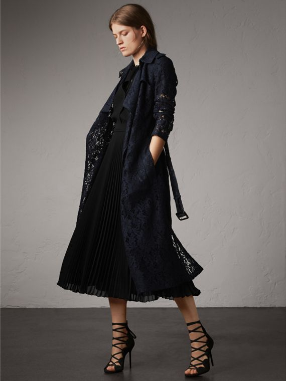 Macramé Lace Trench Coat in Navy - Women | Burberry Australia