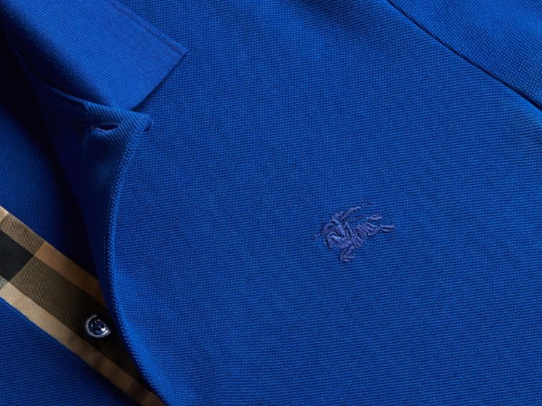 Check Placket Cotton Piqué Polo Shirt in Brilliant Blue - cell image 1