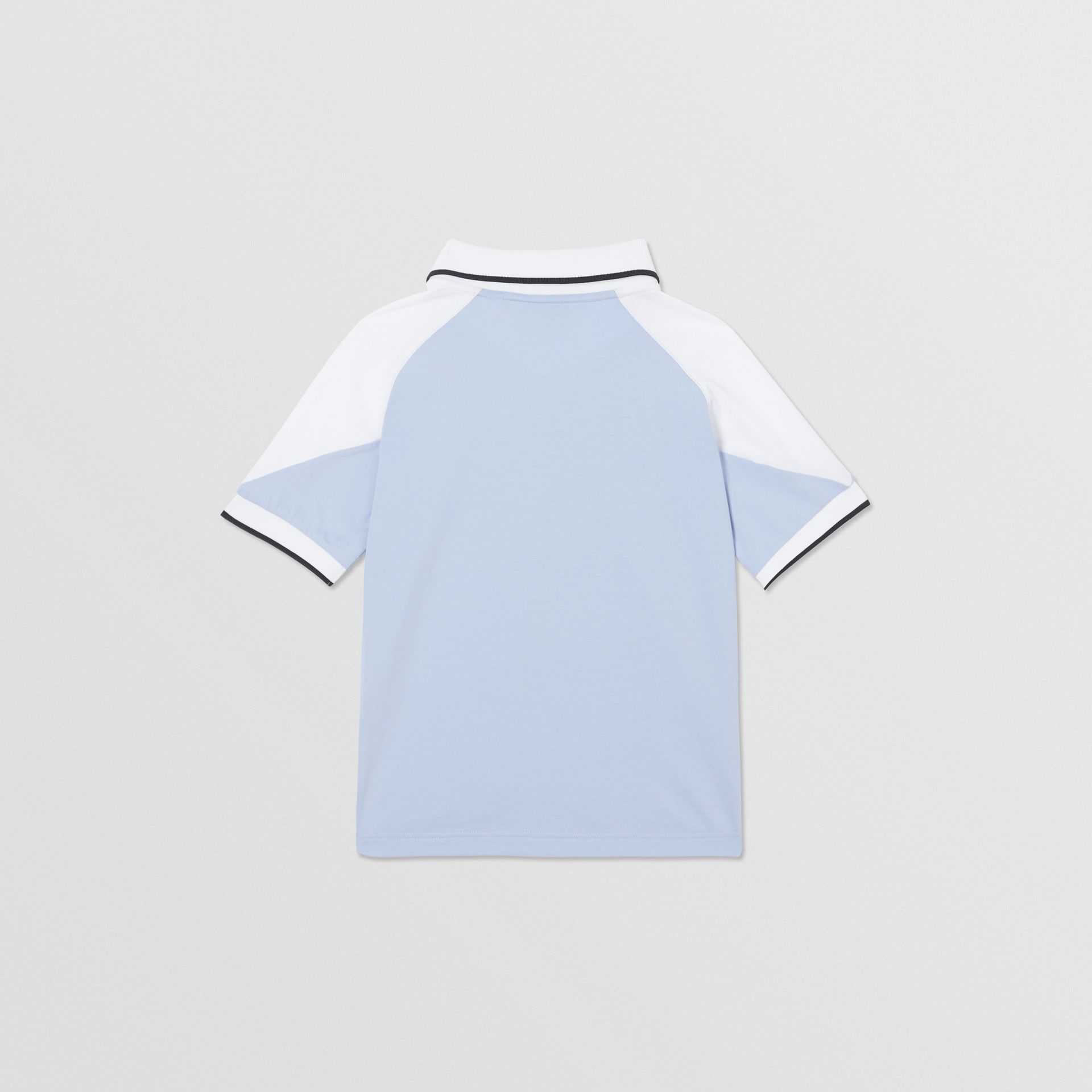 Logo Print Cotton Polo Shirt in Light Blue | Burberry United States - gallery image 3