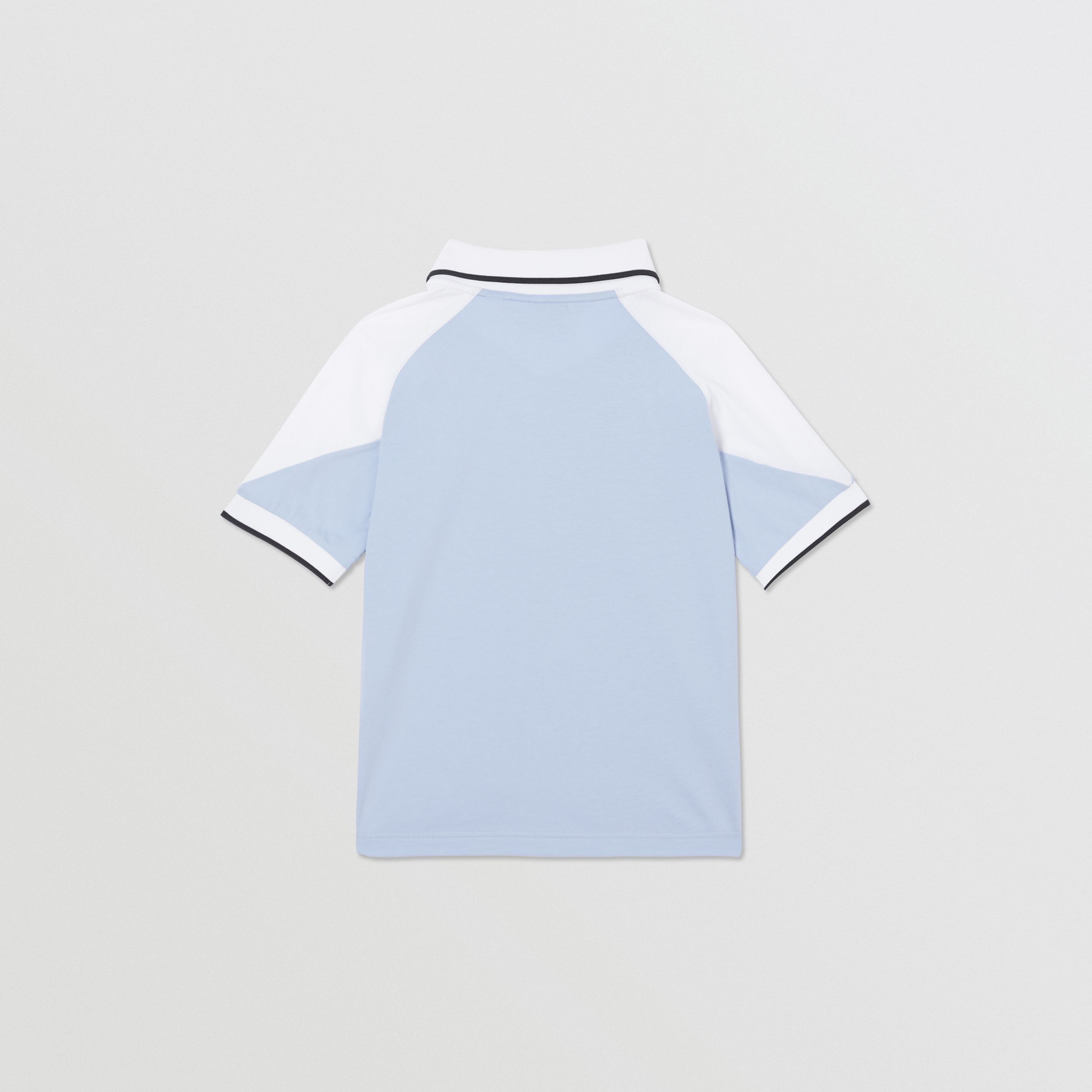 Logo Print Cotton Polo Shirt in Light Blue | Burberry - 4