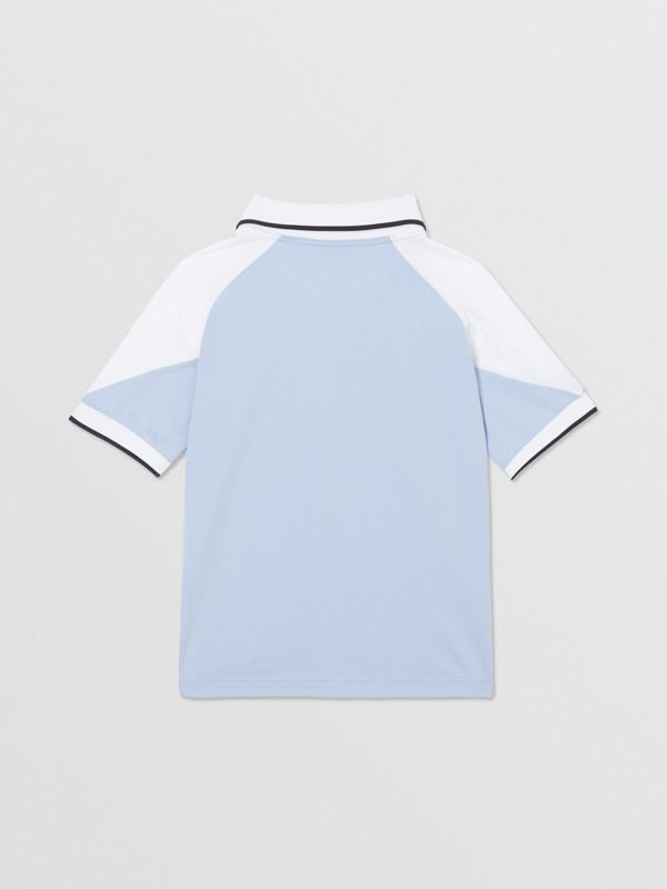 Logo Print Cotton Polo Shirt in Light Blue | Burberry United States - cell image 3