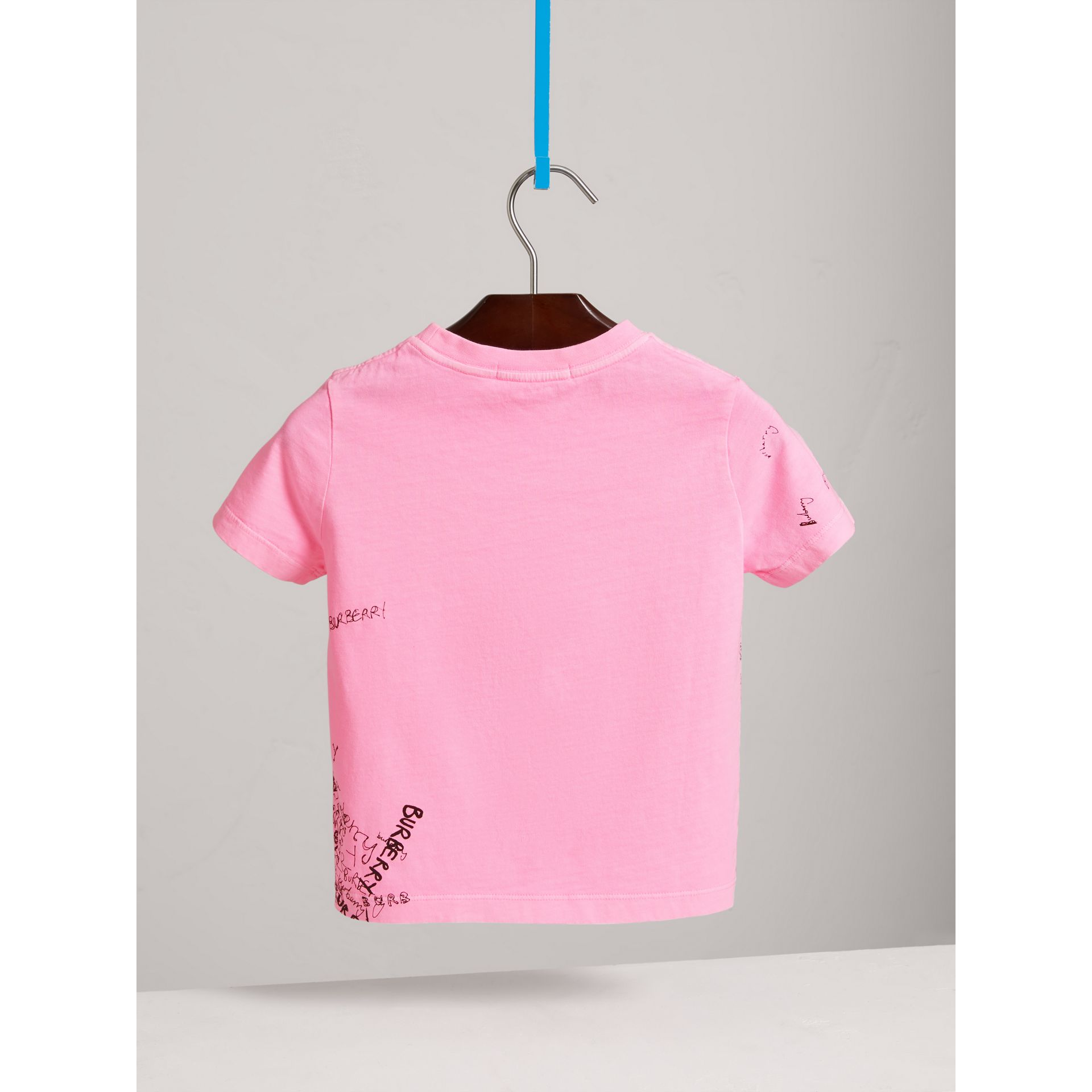 Doodle Print Cotton Jersey T-shirt in Bright Rose - Girl | Burberry - gallery image 4