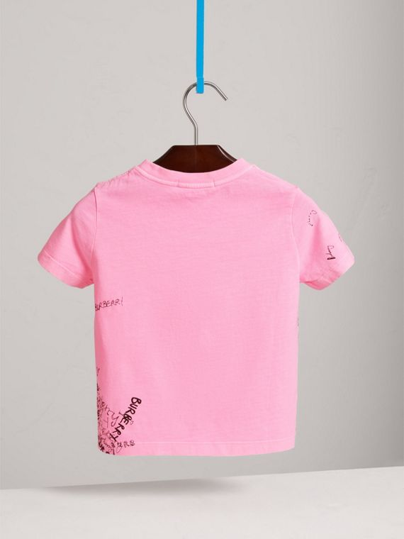 Doodle Print Cotton Jersey T-shirt in Bright Rose - Girl | Burberry - cell image 3