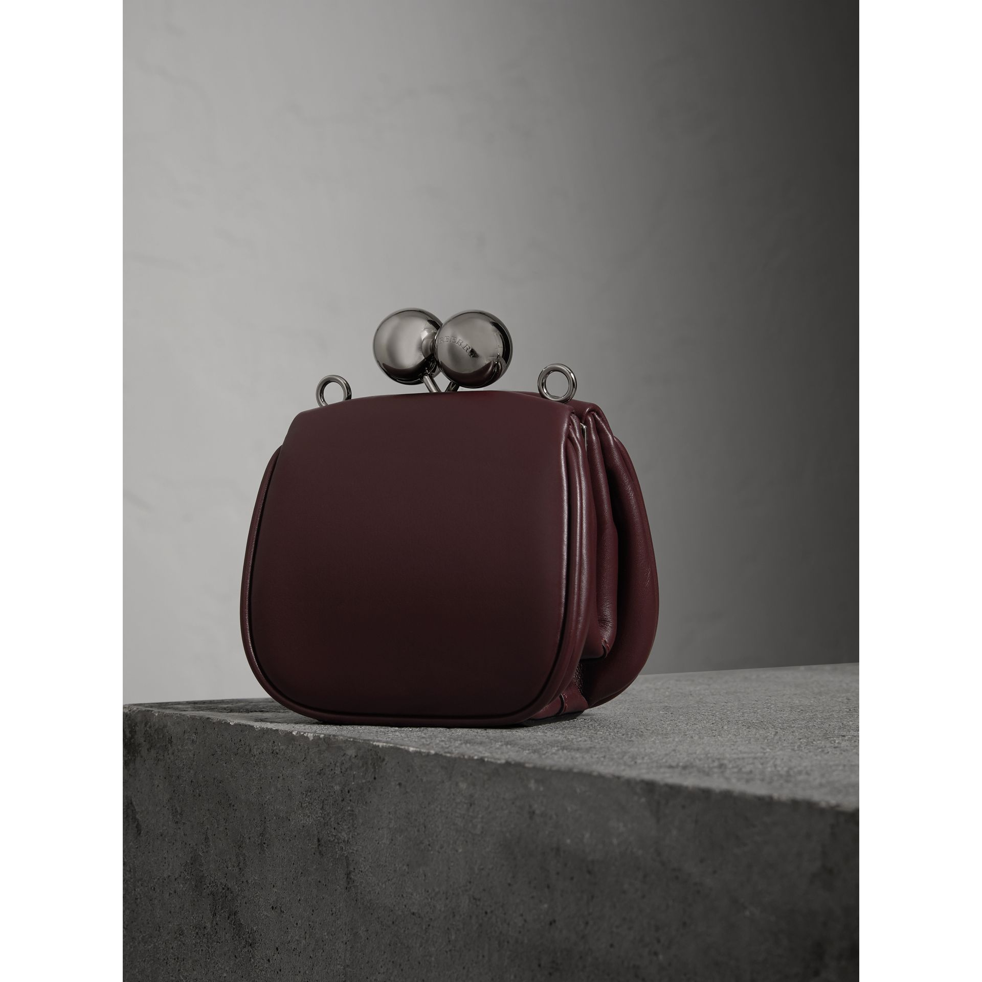 Mini Two-tone Leather Frame Bag in Burgundy - Women | Burberry - gallery image 4