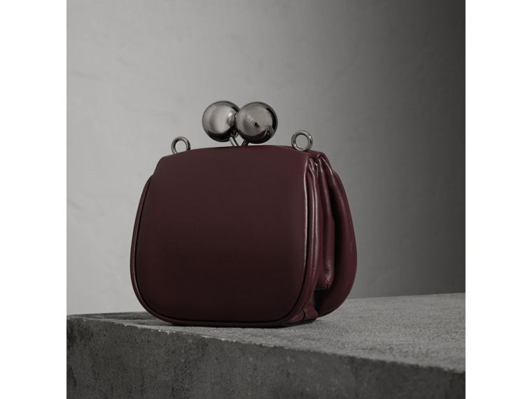 Mini Two-tone Leather Frame Bag in Burgundy - Women | Burberry - cell image 4