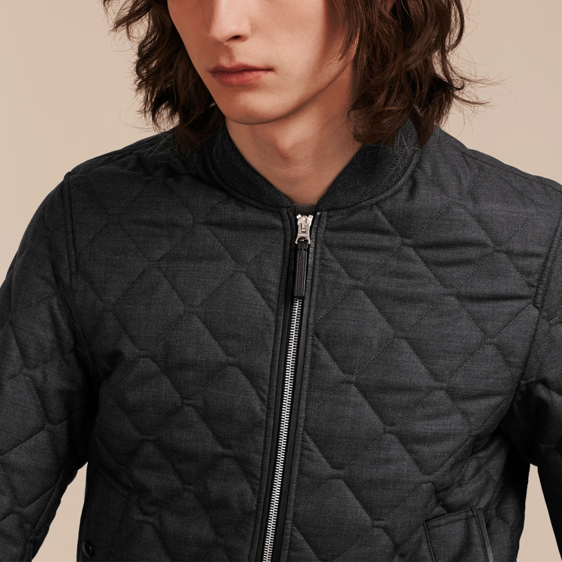 Charcoal Lambskin Trim Quilted Wool Bomber Jacket - gallery image 5