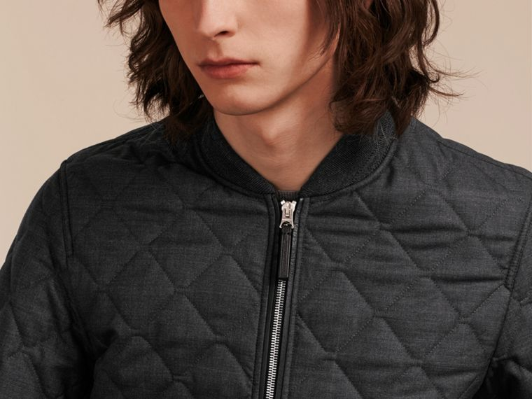 Charcoal Lambskin Trim Quilted Wool Bomber Jacket - cell image 4