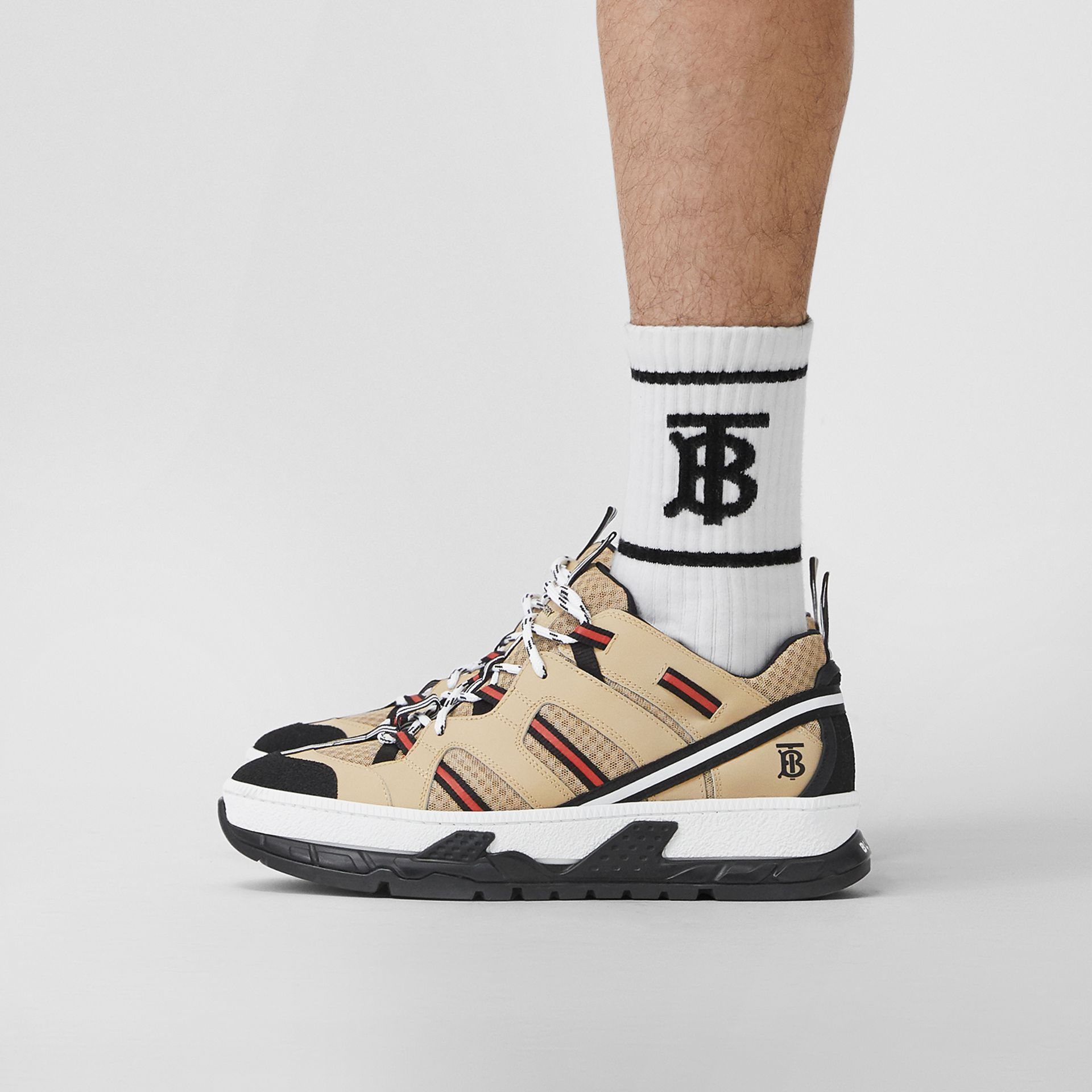 Mesh and Leather Union Sneakers in Beige - Men | Burberry Canada - gallery image 2