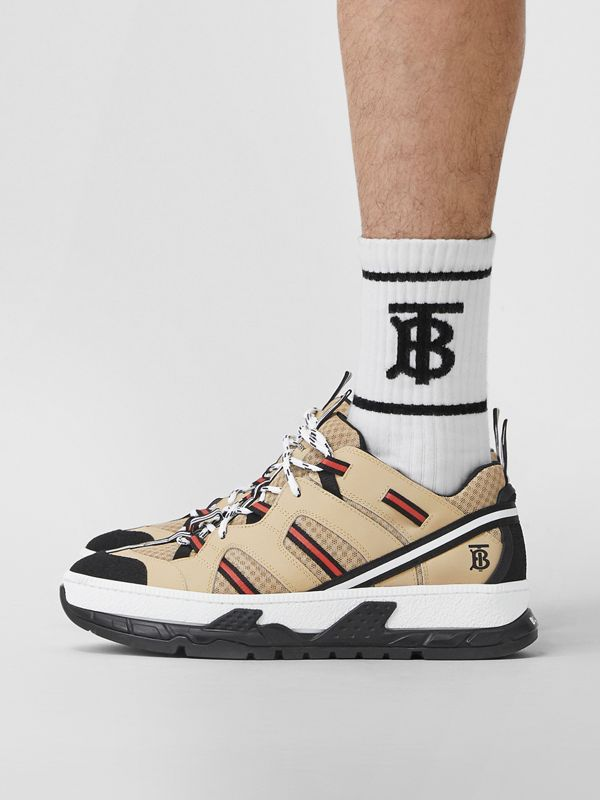 Mesh and Leather Union Sneakers in Beige - Men | Burberry - cell image 2