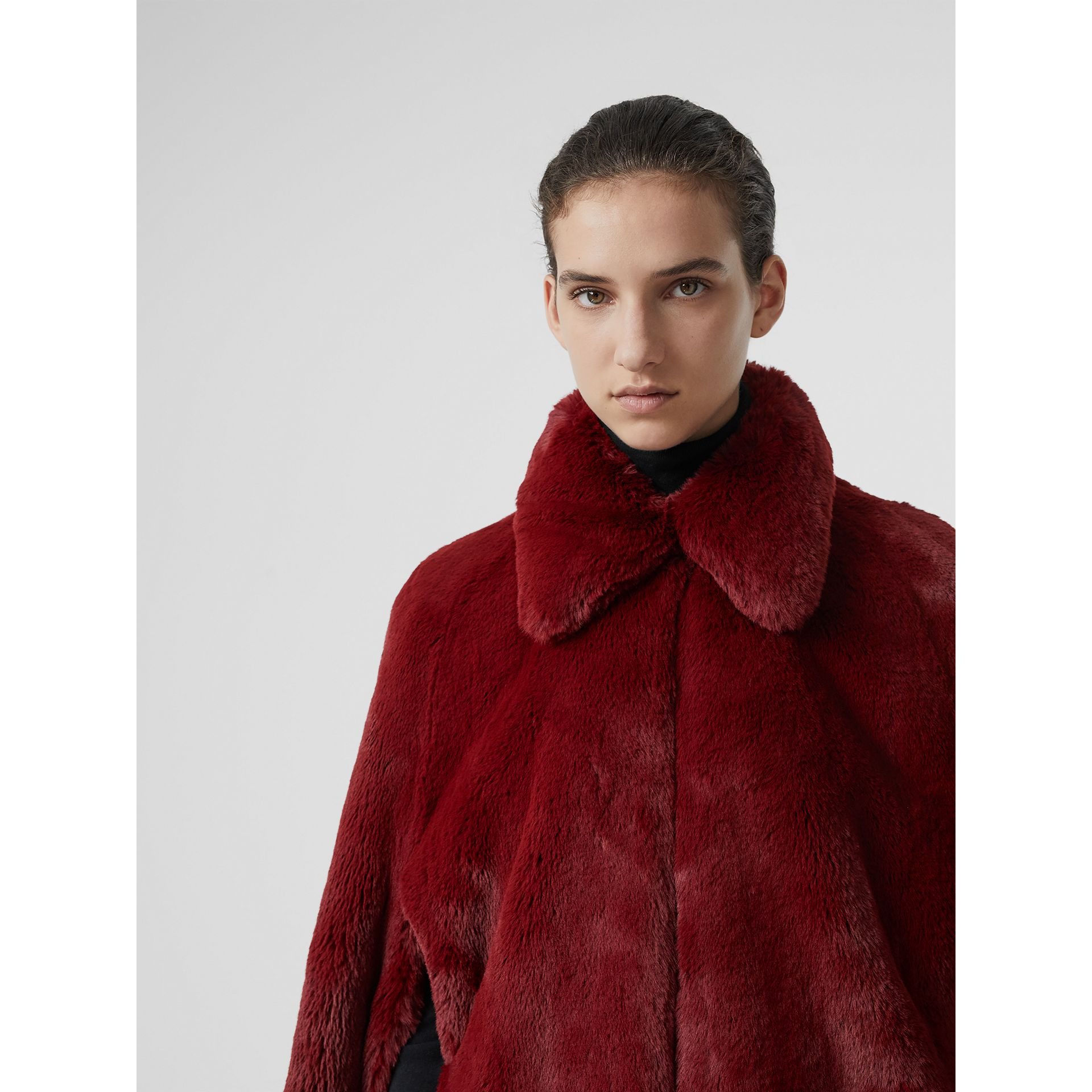 Faux Fur Cape in Burgundy - Women | Burberry - gallery image 1