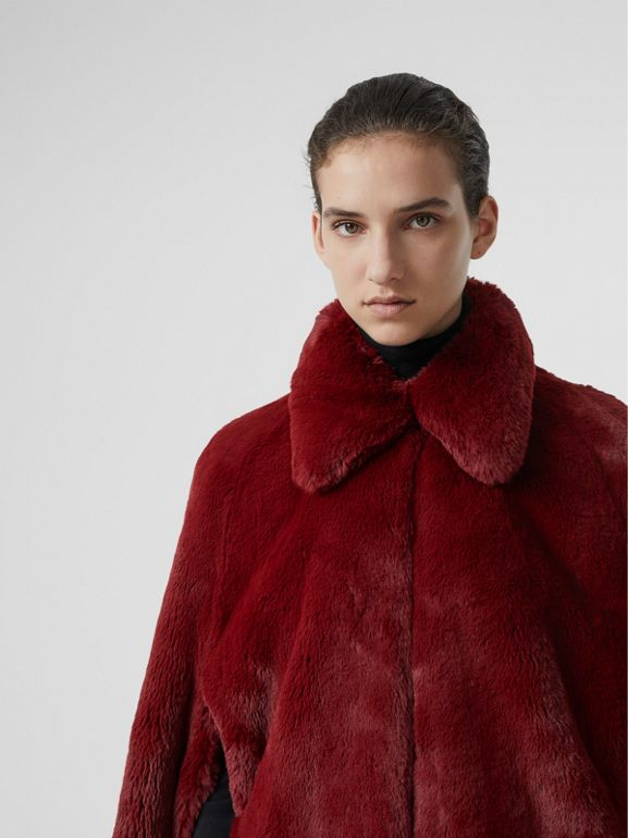 Faux Fur Cape in Burgundy - Women | Burberry - cell image 1