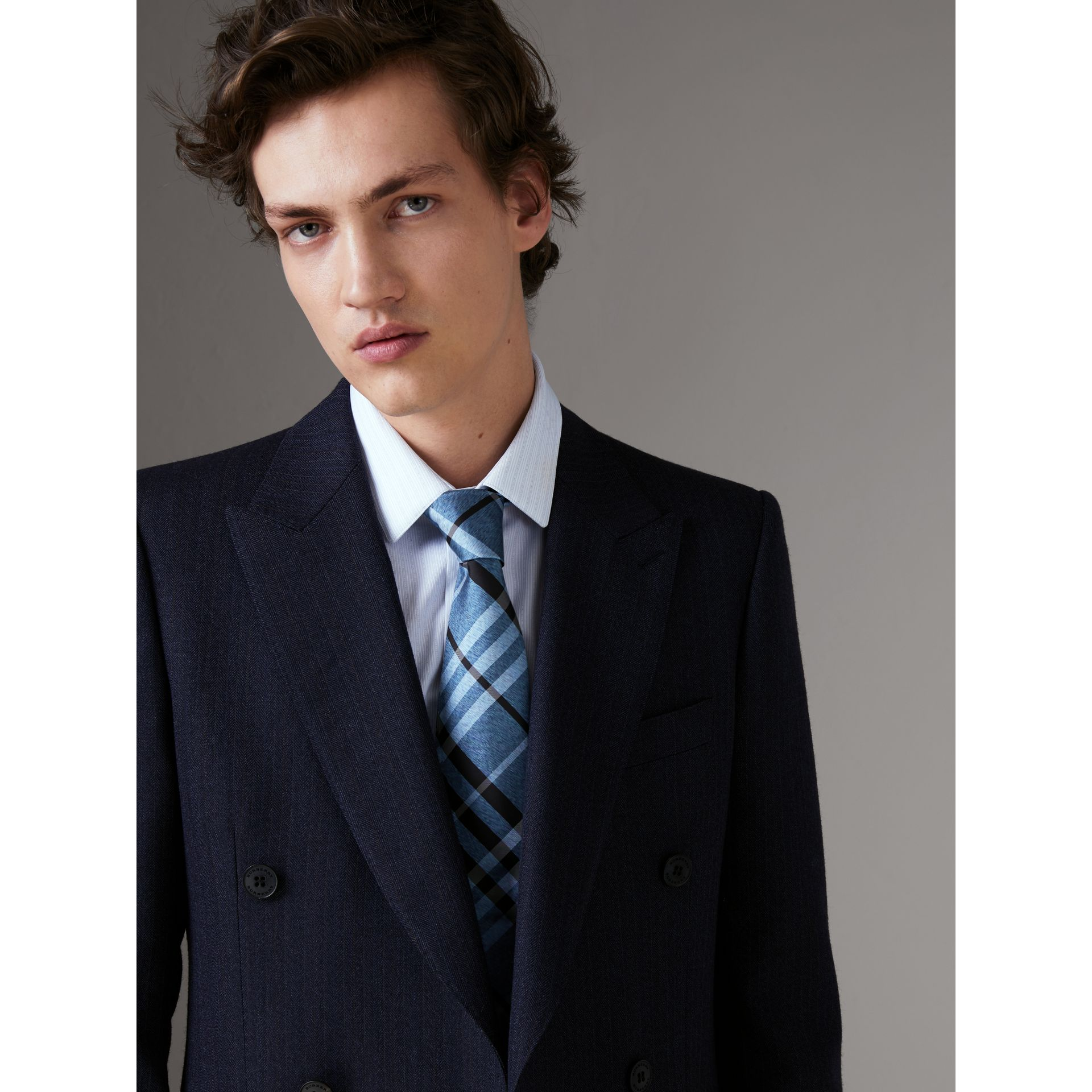 Classic Cut Check Silk Tie in Steel Blue - Men | Burberry United States - gallery image 2