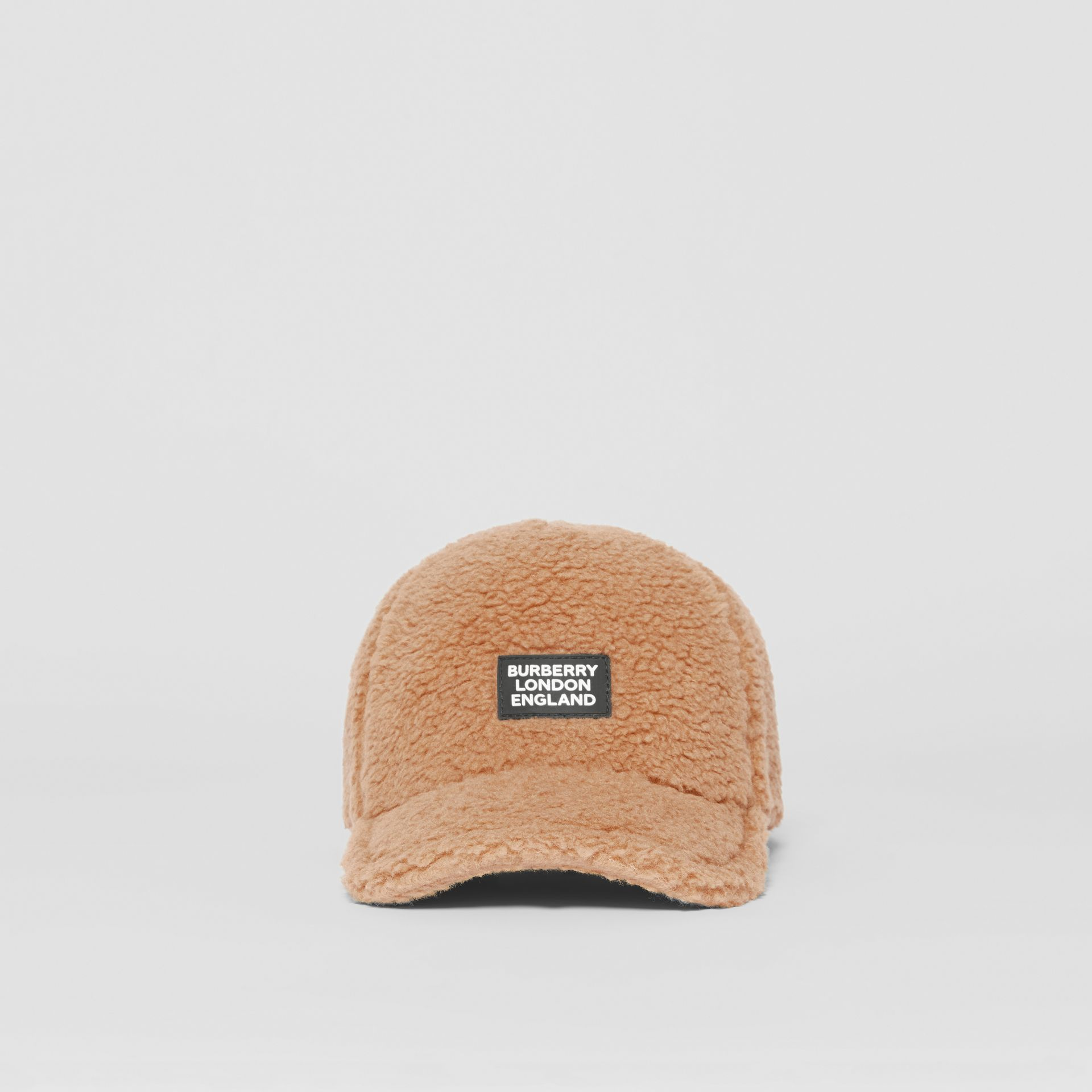 Logo Detail Faux Fur Baseball Cap in Camel | Burberry - gallery image 3