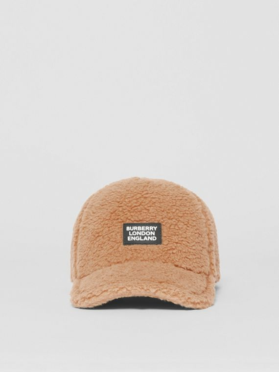 Logo Detail Faux Fur Baseball Cap in Camel