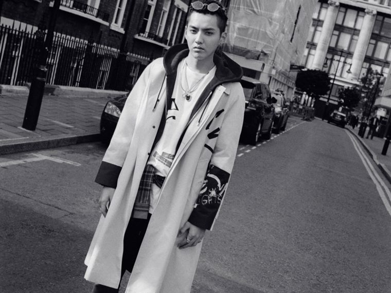 Burberry x Kris Wu Gabardine Car Coat in Stone - Men | Burberry Singapore - cell image 4