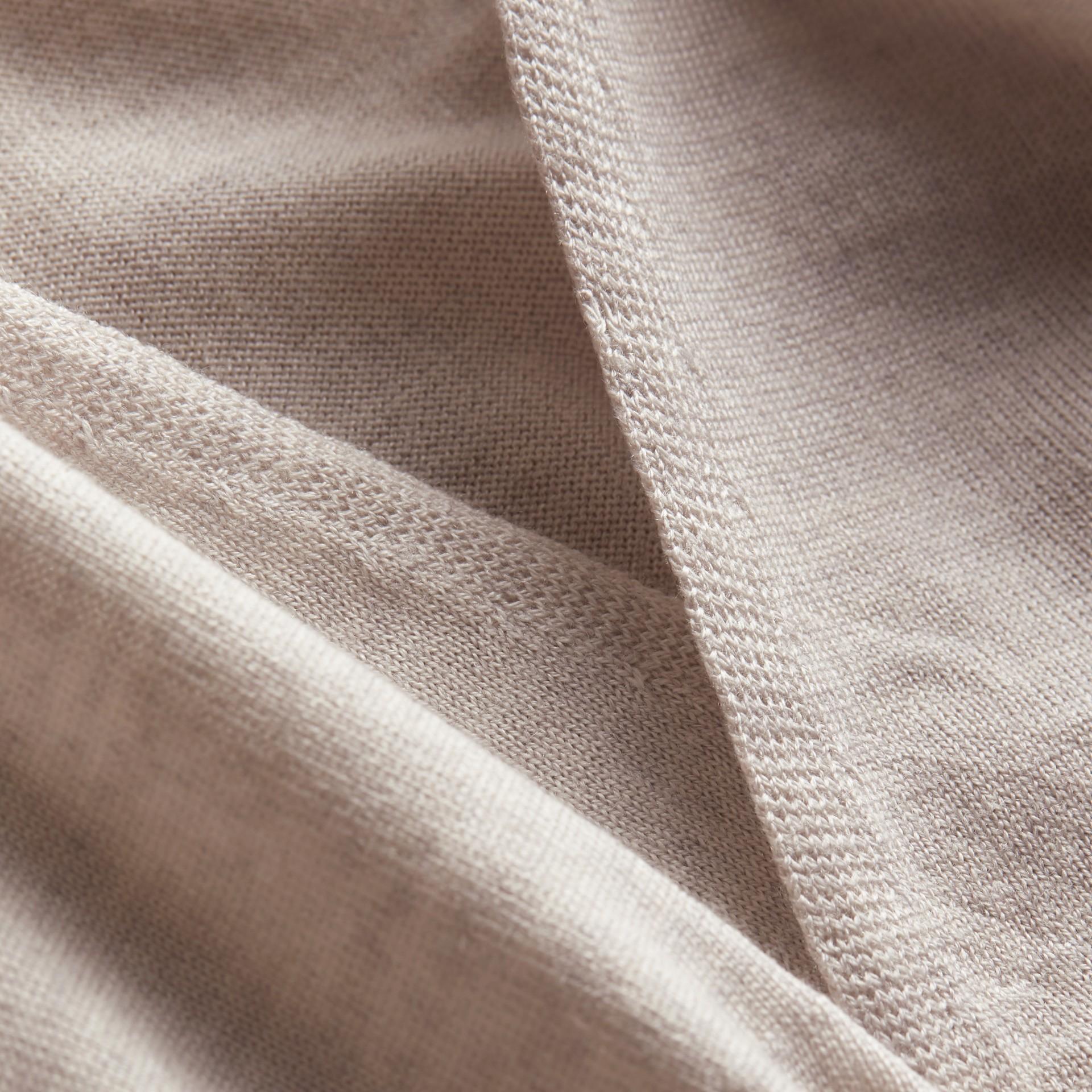 Merino Wool Silk Open Cardigan Light Grey Melange - gallery image 2