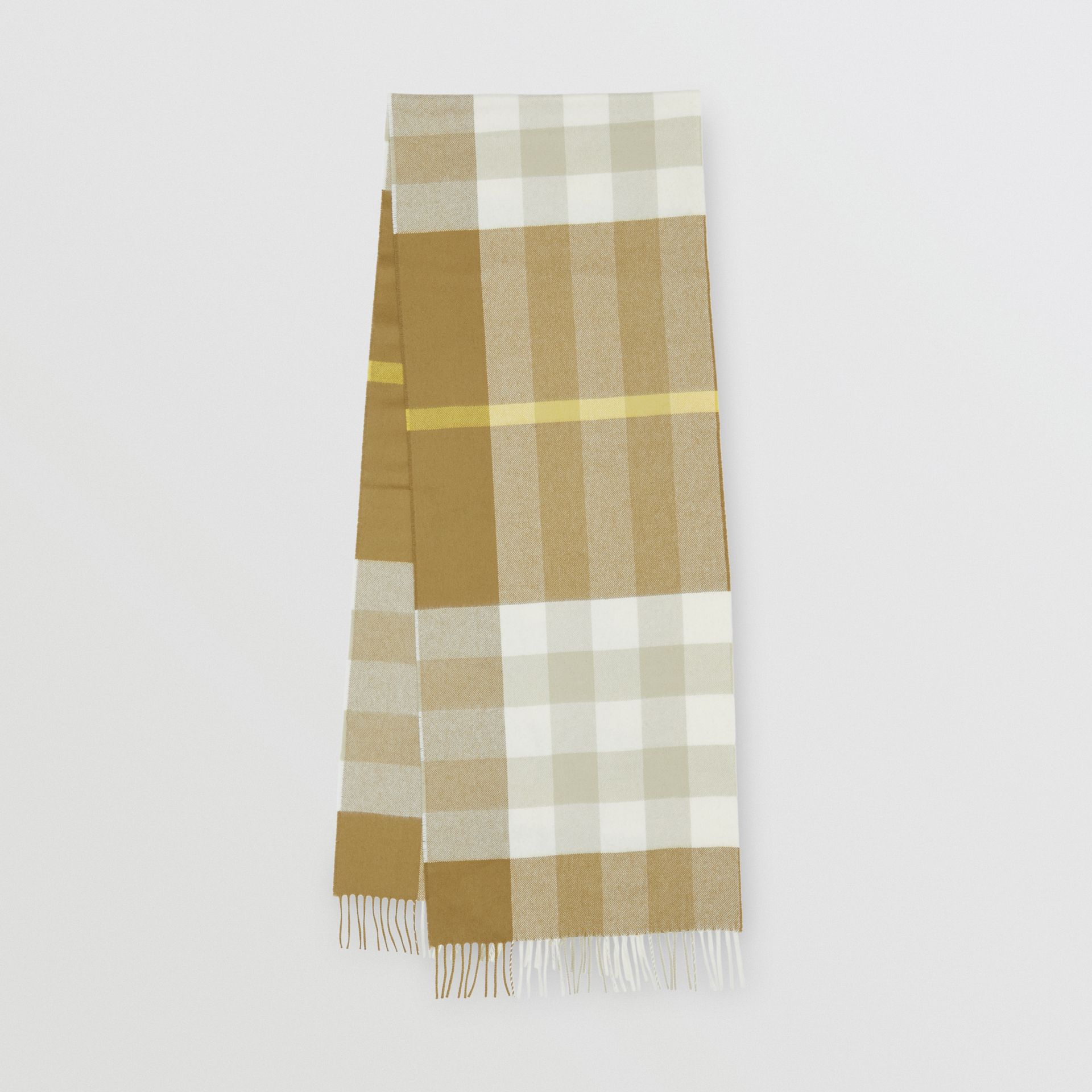 Check Cashmere Scarf in Deep Olive | Burberry United Kingdom - gallery image 0