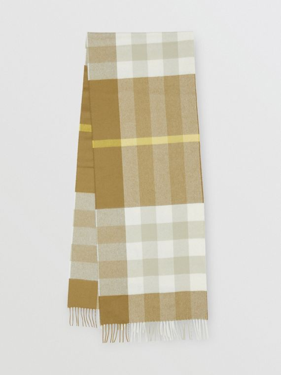 Check Cashmere Scarf in Deep Olive
