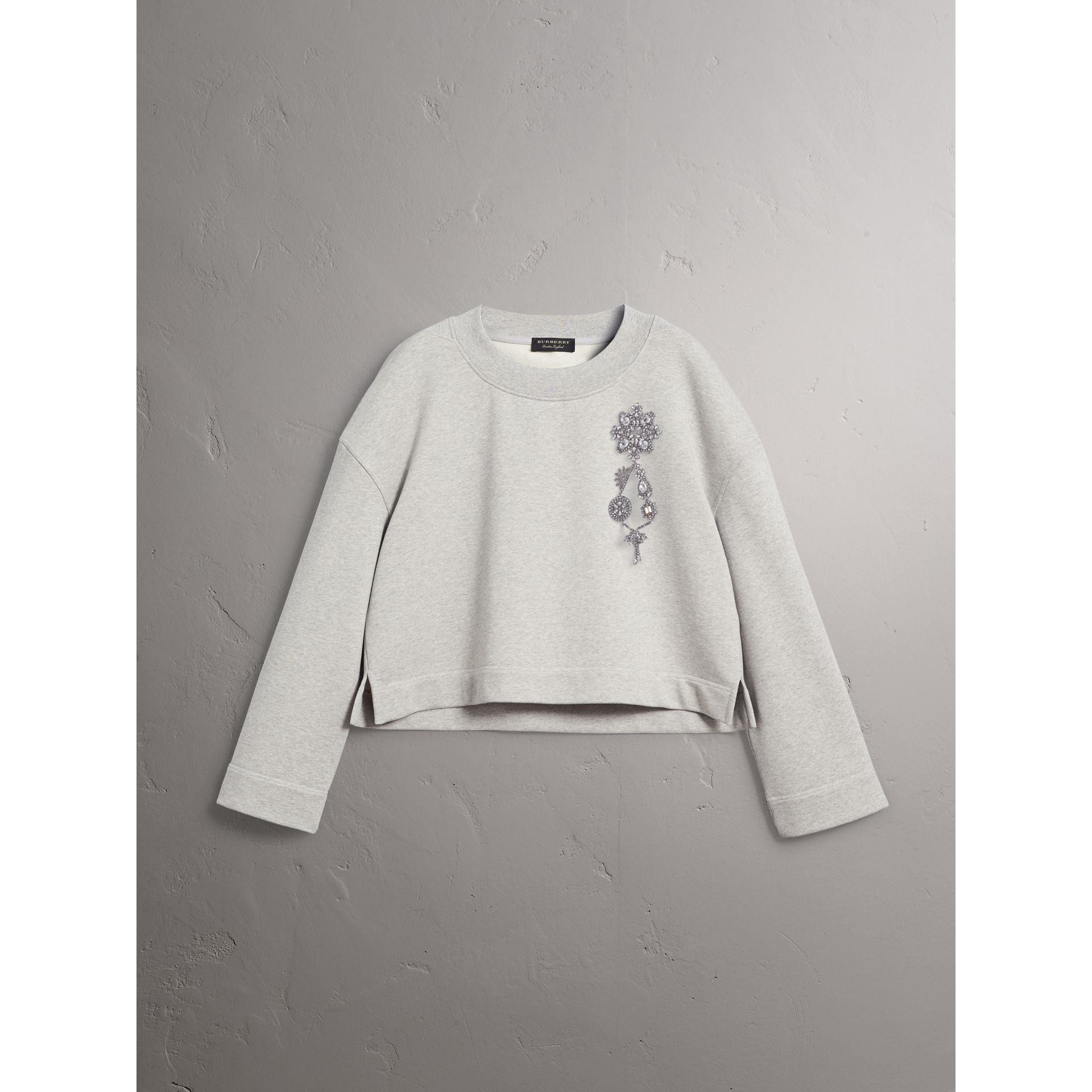 Cropped Sweatshirt with Crystal Brooch in Light Grey Melange - Women | Burberry Singapore - gallery image 3