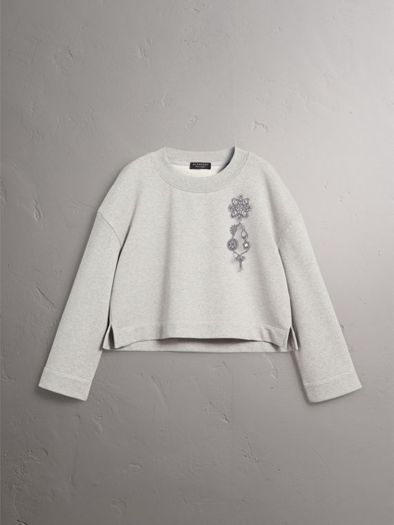 Cropped Sweatshirt with Crystal Brooch in Light Grey Melange - Women | Burberry United States - cell image 3