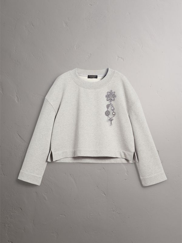 Cropped Sweatshirt with Crystal Brooch in Light Grey Melange - Women | Burberry United Kingdom - cell image 3