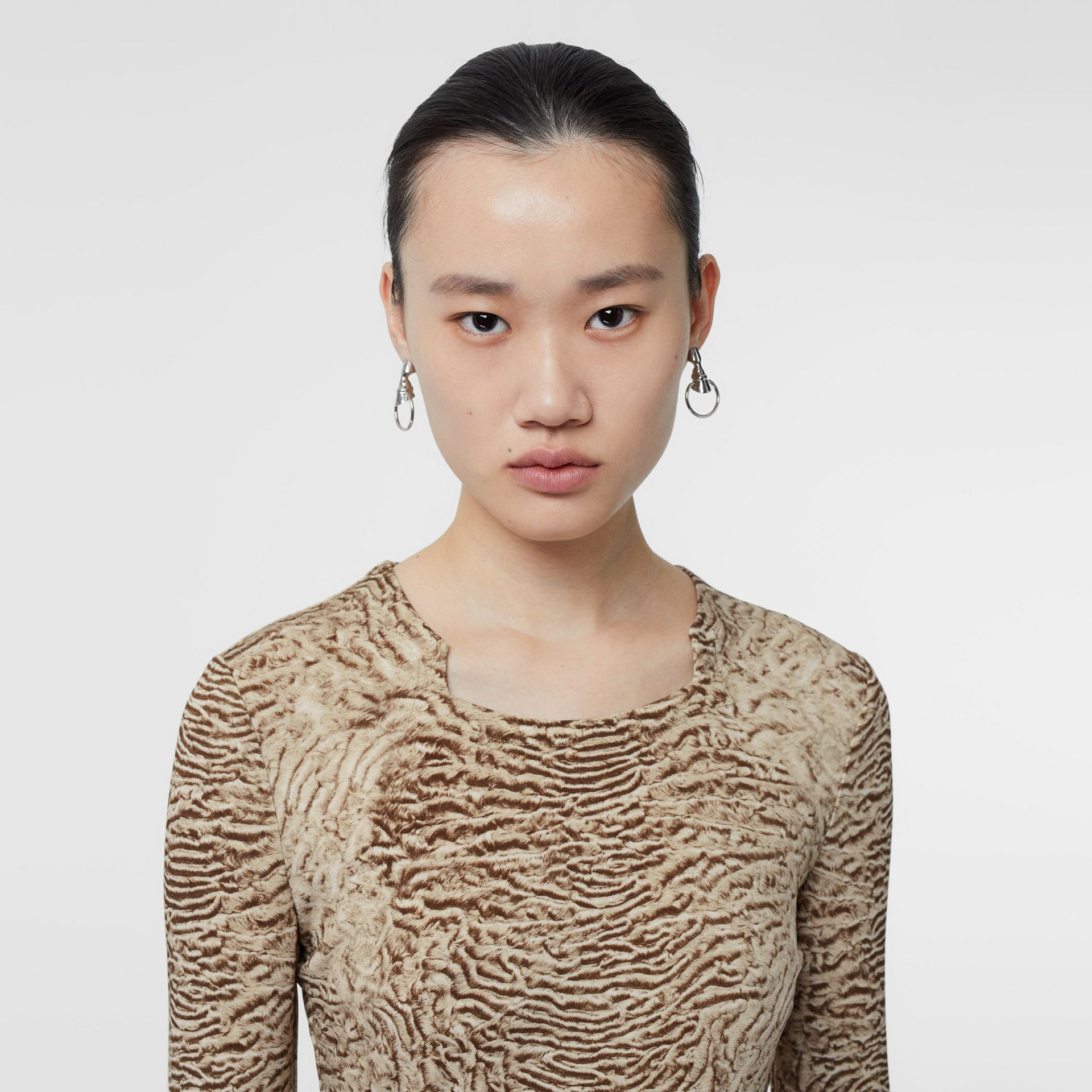 Astrakhan Print Stretch Jersey Top in Pale Taupe - Women | Burberry - gallery image 1