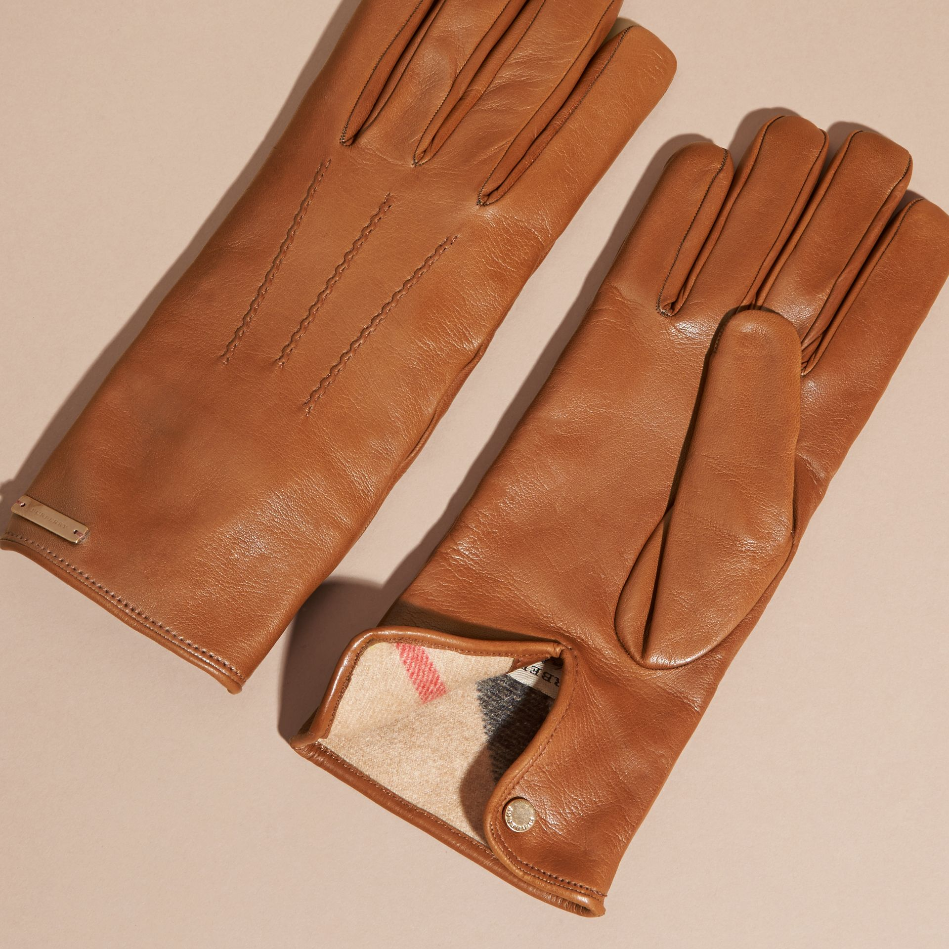 Cashmere Lined Lambskin Gloves in Malt Brown - Men | Burberry Australia - gallery image 3