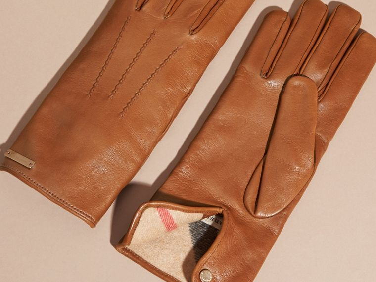 Cashmere Lined Lambskin Gloves in Malt Brown - Men | Burberry - cell image 2