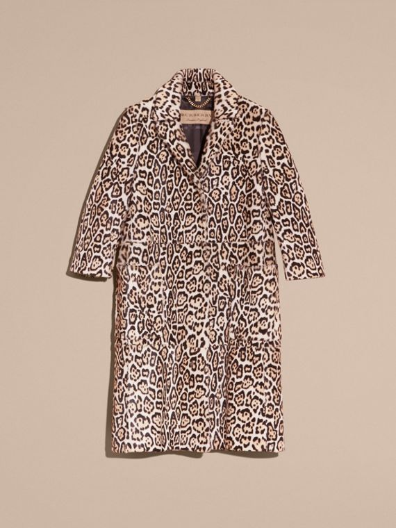 Camel Leopard Print Shearling Coat - cell image 3