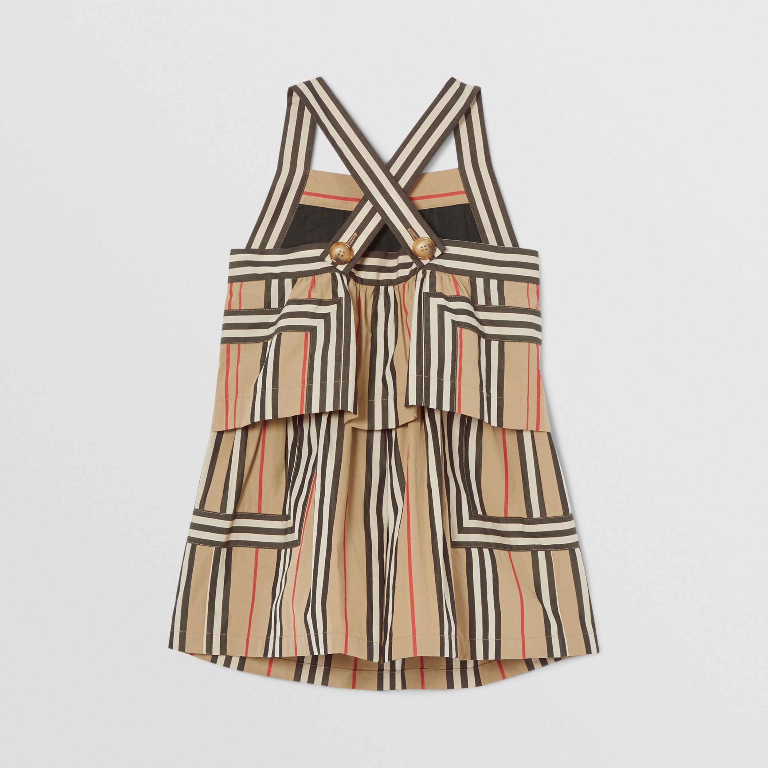 Icon Stripe Cotton Poplin Playsuit in Archive Beige | Burberry - 4