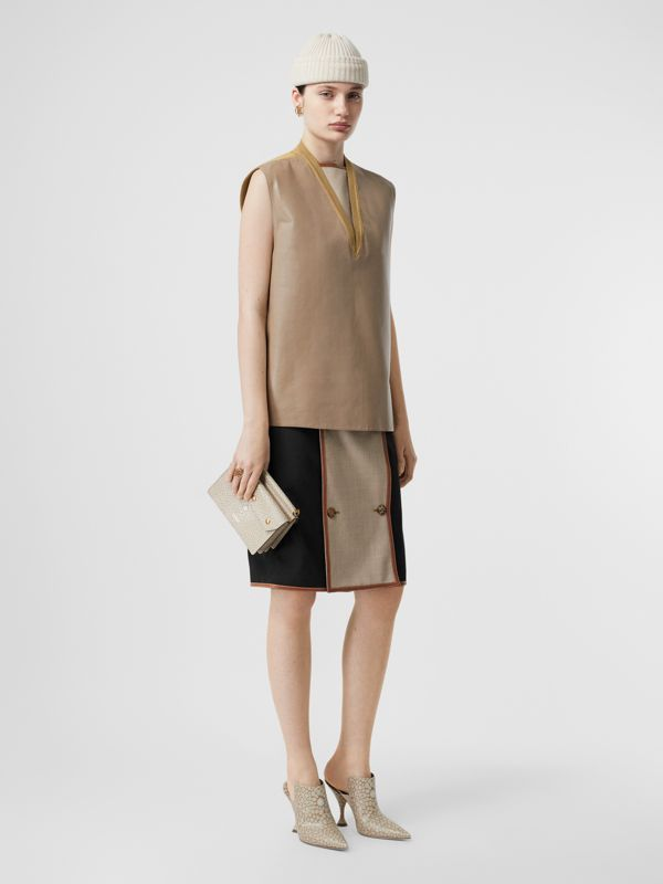 Bonded Lambskin and Wool Oversized Vest in Soft Fawn - Women | Burberry United States - cell image 3