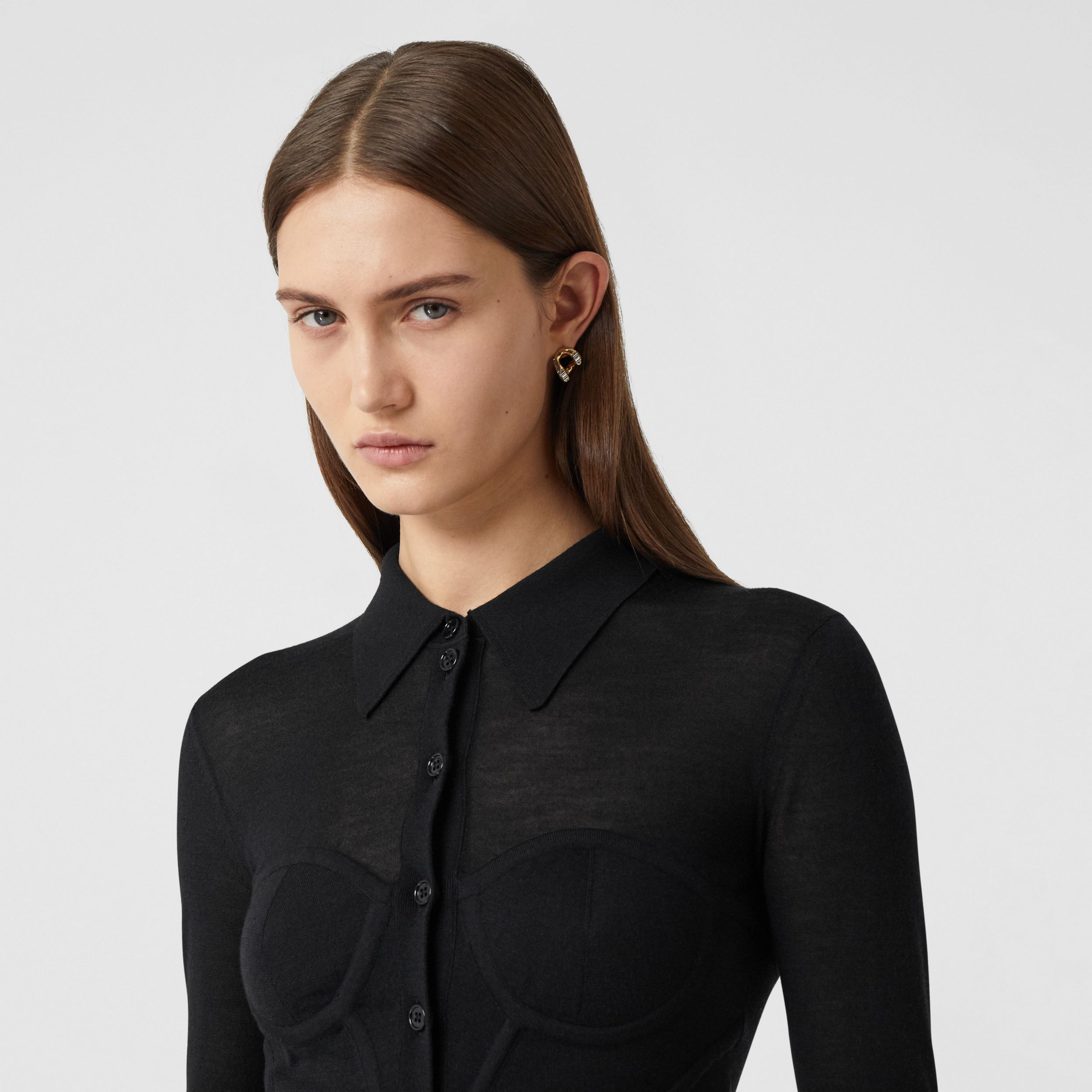 Corset Detail Knit Cashmere Silk Cardigan in Black - Women | Burberry - 2