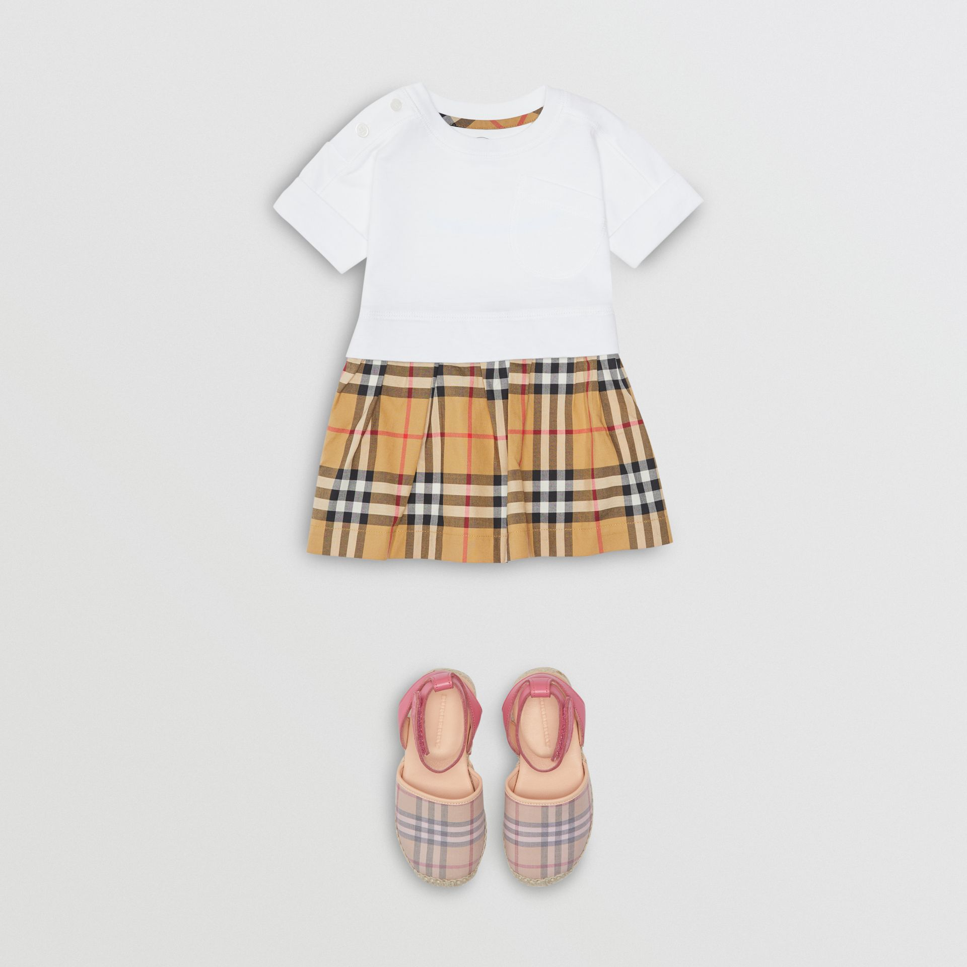 Vintage Check Cotton Dress with Bloomers in White - Children | Burberry - gallery image 2
