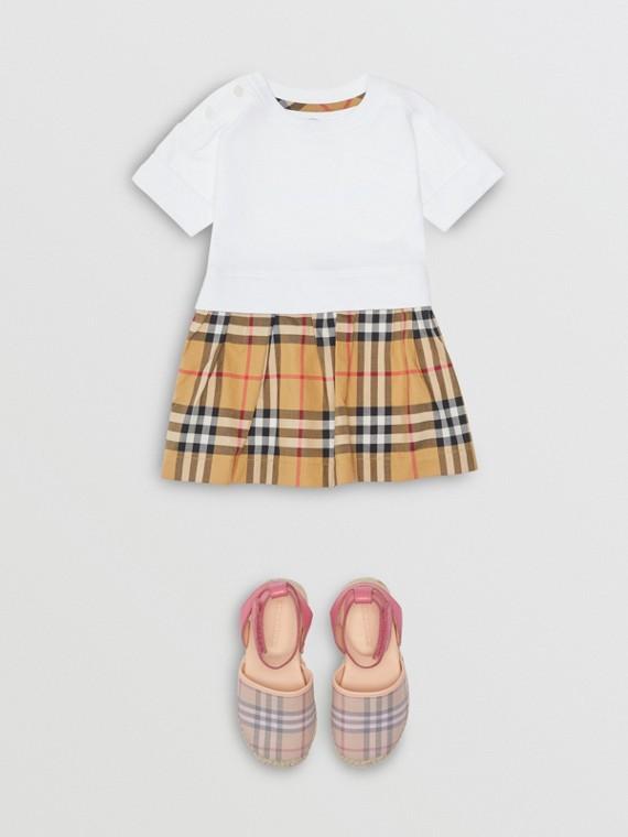 Vintage 格紋棉質洋裝附燈籠褲 (白色)