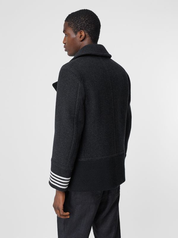 Striped Cuff Wool Pea Coat in Black - Men | Burberry - cell image 2