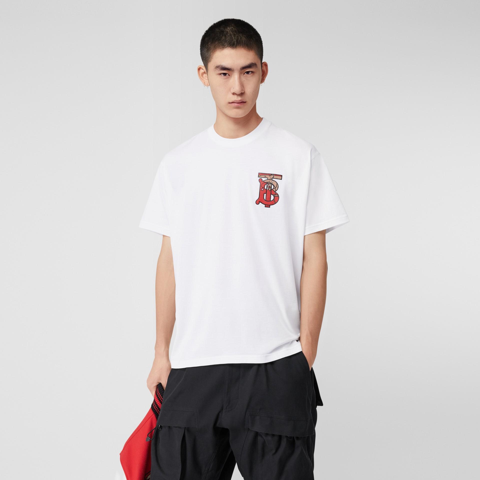 Monogram Motif Cotton Oversized T-shirt in White - Men | Burberry - gallery image 4