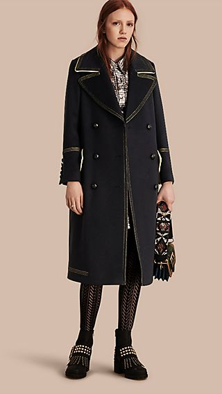 Tailored Wool Coat With Contrast Details