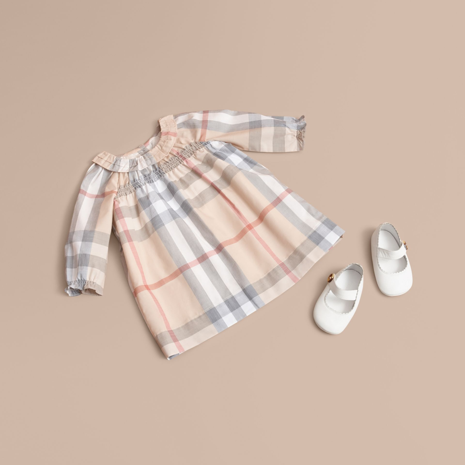 Ruffle Detail Check Cotton Dress and Bloomers in Pale Stone | Burberry - gallery image 1