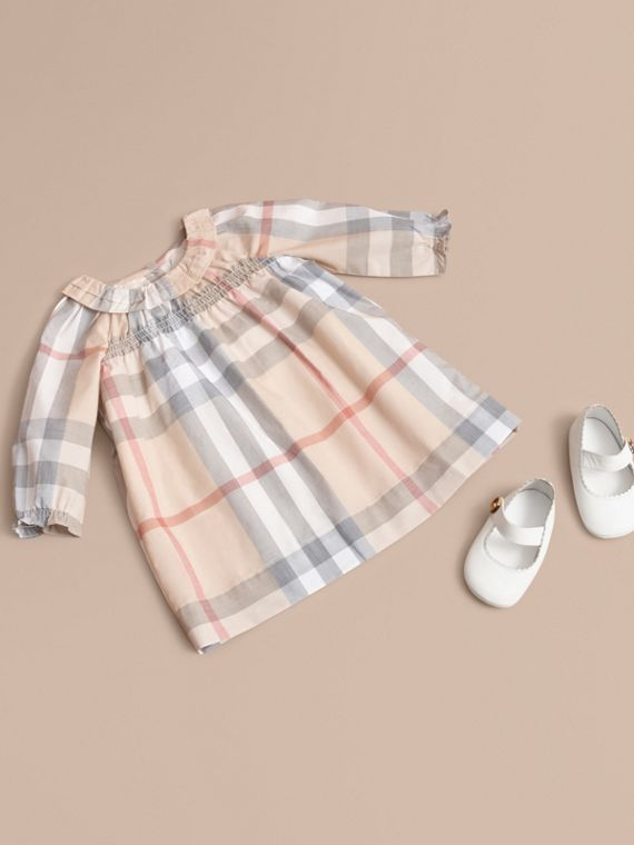 Ruffle Detail Check Cotton Dress and Bloomers in Pale Stone
