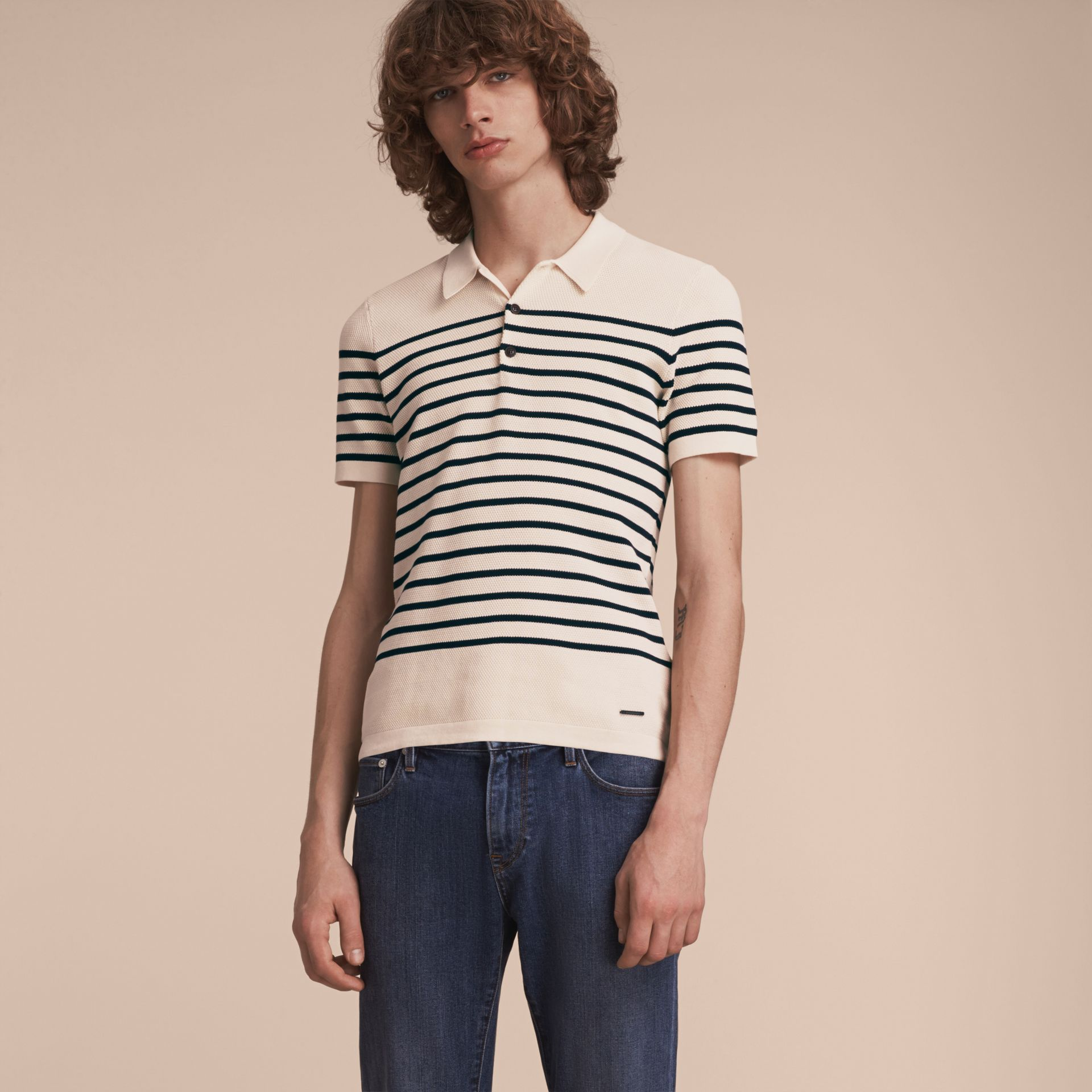 Striped Knitted Cotton Polo Shirt in White - Men | Burberry Canada - gallery image 6