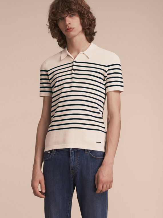 Striped Knitted Cotton Polo Shirt in White