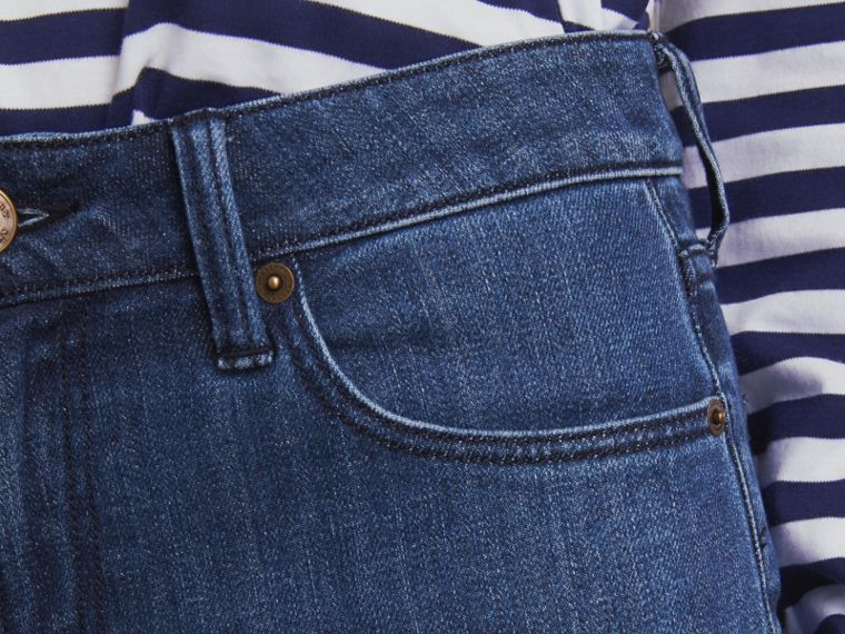 Skinny Fit Seam Detail Stretch Japanese Denim Jeans in Indigo - Women | Burberry - cell image 4