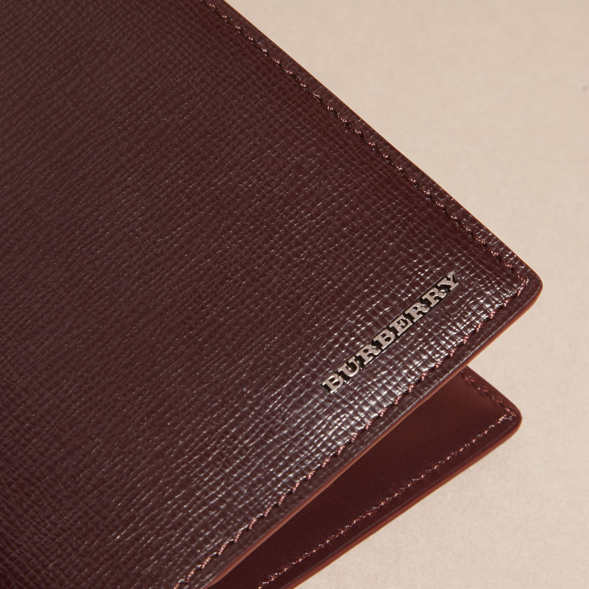 Wine London Leather Passport and Card Holder Wine - gallery image 2