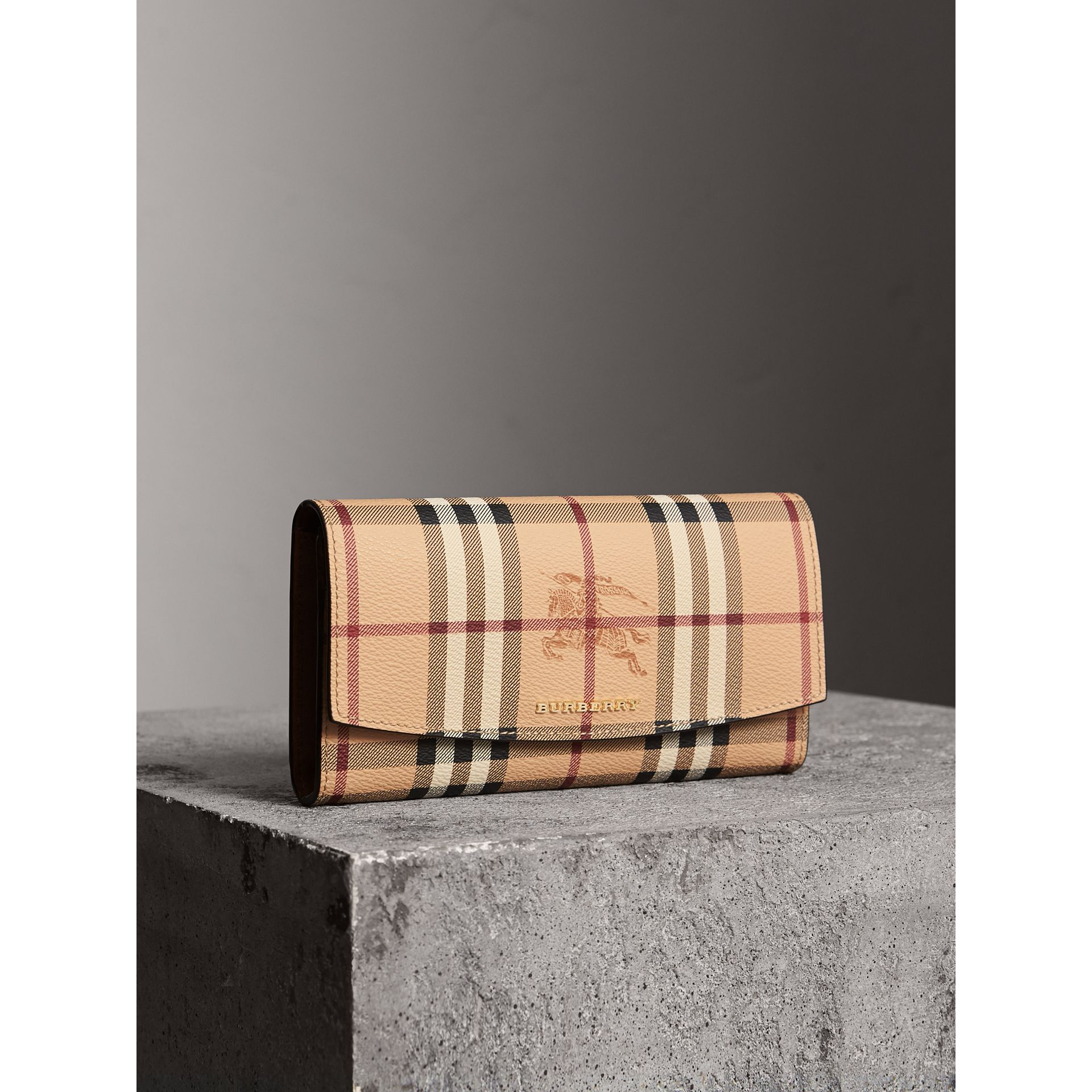 Haymarket Check and Leather Continental Wallet in Tan - Women | Burberry Singapore - gallery image 1
