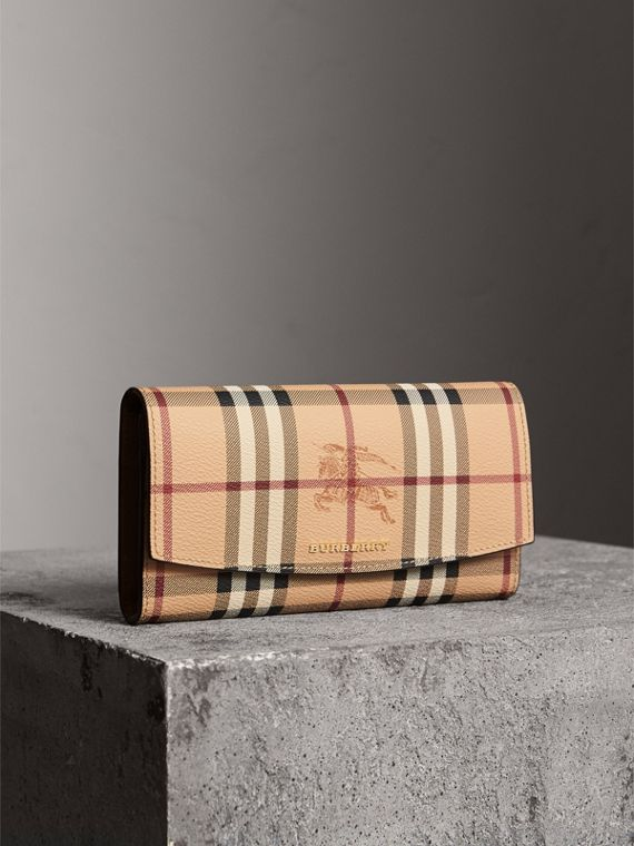 Haymarket Check and Leather Continental Wallet in Tan