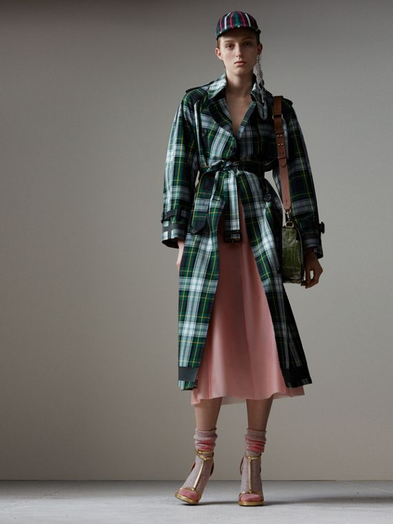 Tartan Cotton Gabardine Trench Coat in Ink Blue