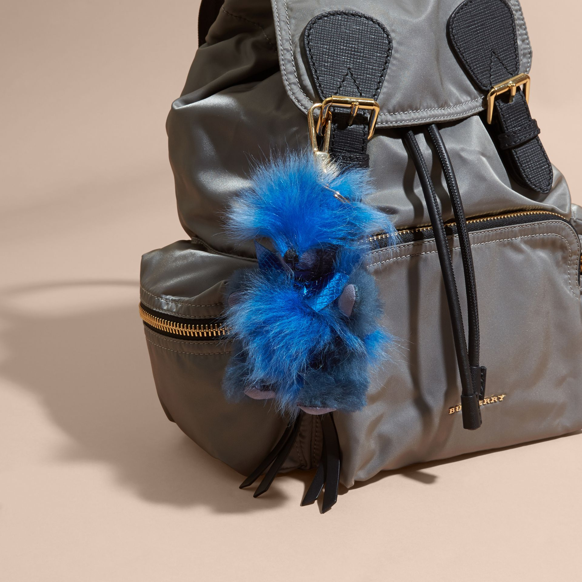 Thomas Bear Pom-Pom Charm in Check Cashmere in Bright Cornflower Blue - Women | Burberry United Kingdom - gallery image 1